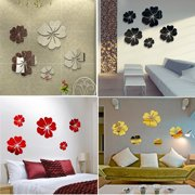 5pcs Flower Wall Mirror Sticker 3D Removable Art Mural Decal DIY Dining Room Bedroom Kitchen Home Room Decor Modern