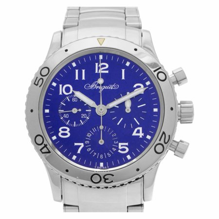 Pre-Owned Breguet Aeronavale 3807 Steel  Watch (Certified Authentic & Warranty) Breguet, Aeronavale, 3807, Automatic Self Wind, Used, Production Year:2005, Case Material: Stainless Steel, Bezel Material: Stainless Steel, Dial Type: Analog, Dial Color: Blue, Band Material: Stainless Steel, Band Color: N/a, Band Width: 21.0mm, Band Length: 7.0in, Box Only, External Condition: Excellent,