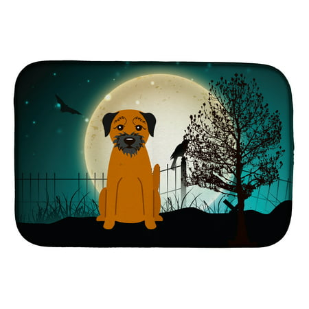 Halloween Scary Border Terrier Dish Drying Mat - Halloween Document Borders