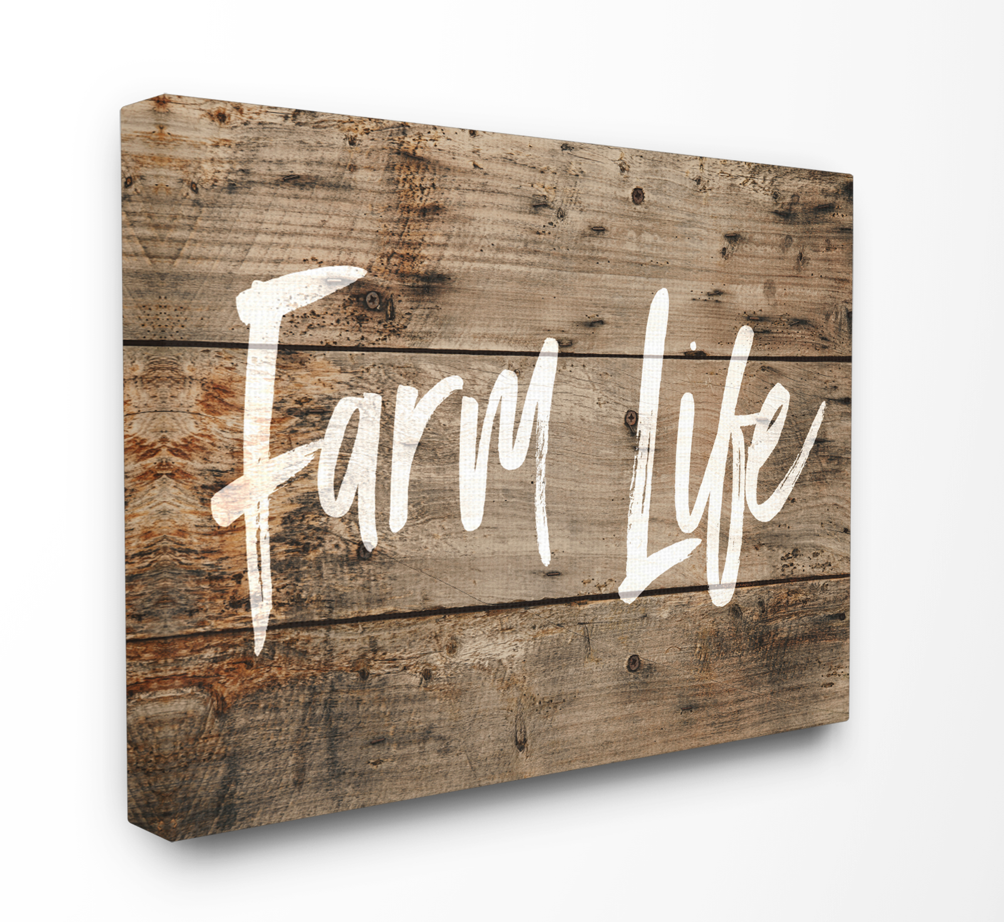 The Stupell Home Decor Collection Farm Life Distressed Plank Wood Look XXL Stretched Canvas Wall Art