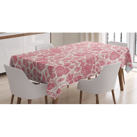 Coral Tablecloth, Vintage Pattern with Roses Gardening Plants Classical Feminine Composition, Rectangular Table Cover for Dining Room Kitchen, 60 X 84 Inches, Dark Coral Coconut, by Ambesonne](Coral Table Cloth)