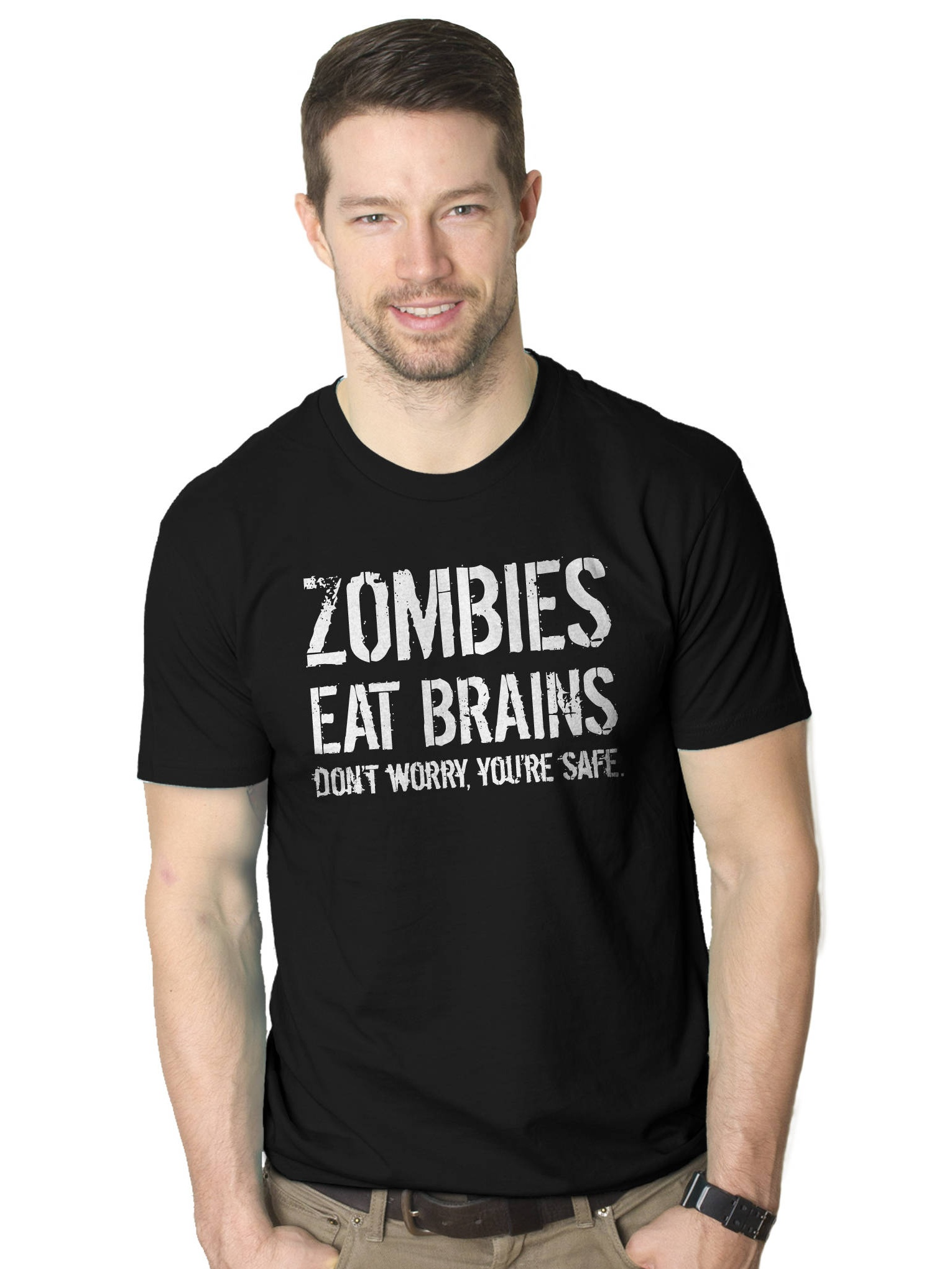 Zombies Eat Brains Youre Safe Mens T Shirt Walking Dead