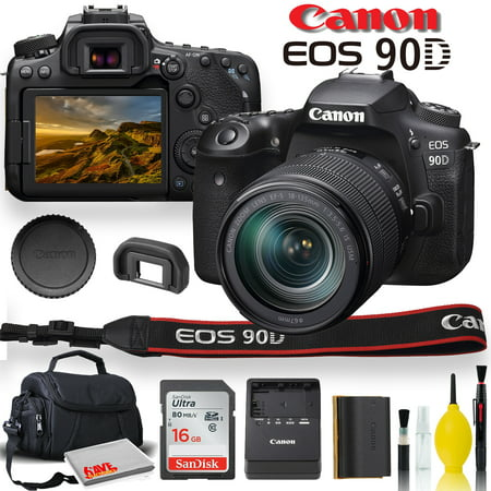 Canon EOS 90D DSLR Camera with 18-135mm Lens With Padded Case, Memory Card, and More - Starter Bundle Set