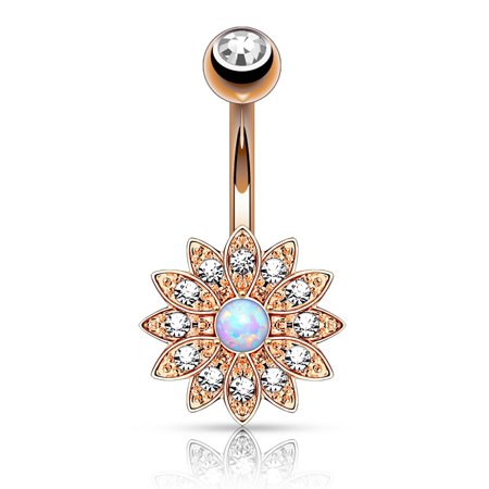 Bodyj4you Belly Button Ring Small Flower White Created Opal Stone 14g Navel Banana Rose Goldtone Bar