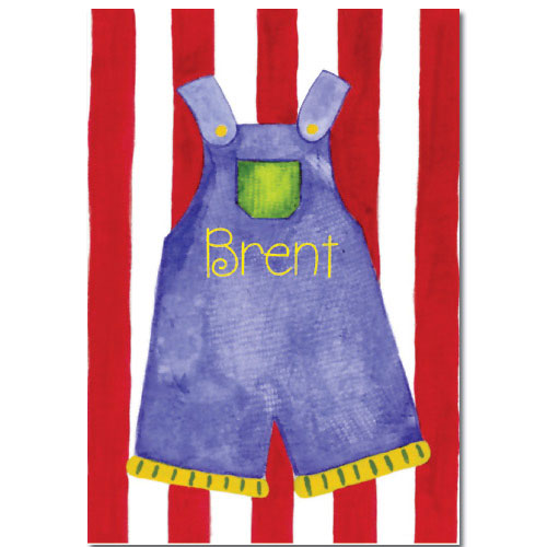 Personalized Watercolor Overalls Image on Canvas