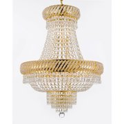 Gallery T40-312 French Empire 9 Light 1 Tier Crystal Chandelier - Gold