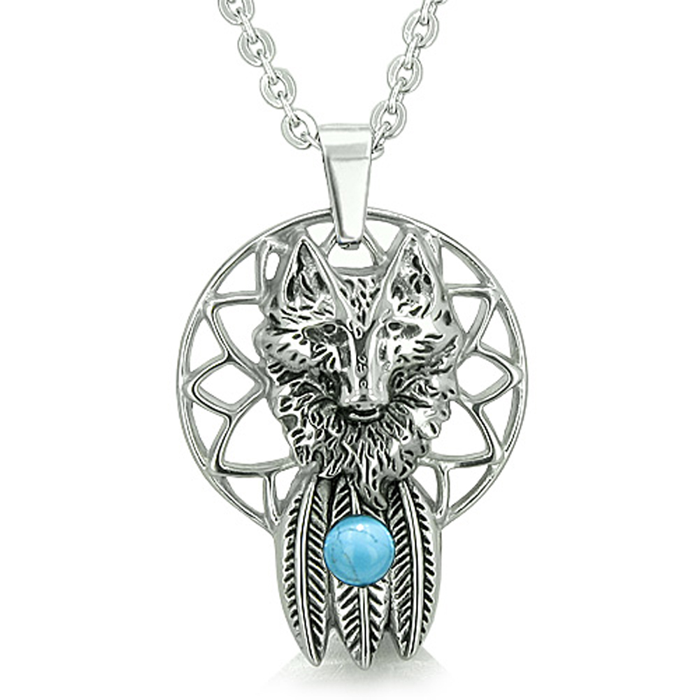 Dreamcatcher Wolf Feathers Moon Powers Simulated Turquoise Crystal Pendant 22 Inch Necklace