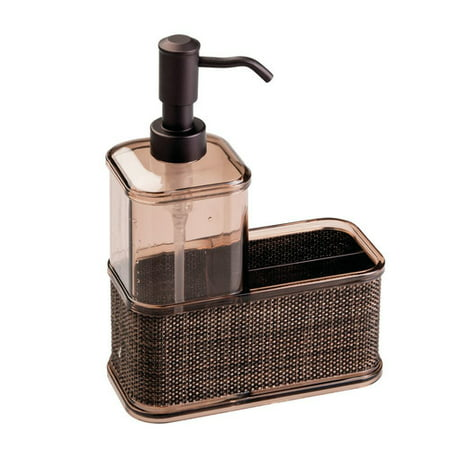 Interdesign Twillo Kitchen Soap Dispenser Pump Sponge And Scrubby Caddy Organizer Bronze