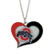 NCAA Ohio State Buckeyes Swirl Heart Necklace Charm Gift Set