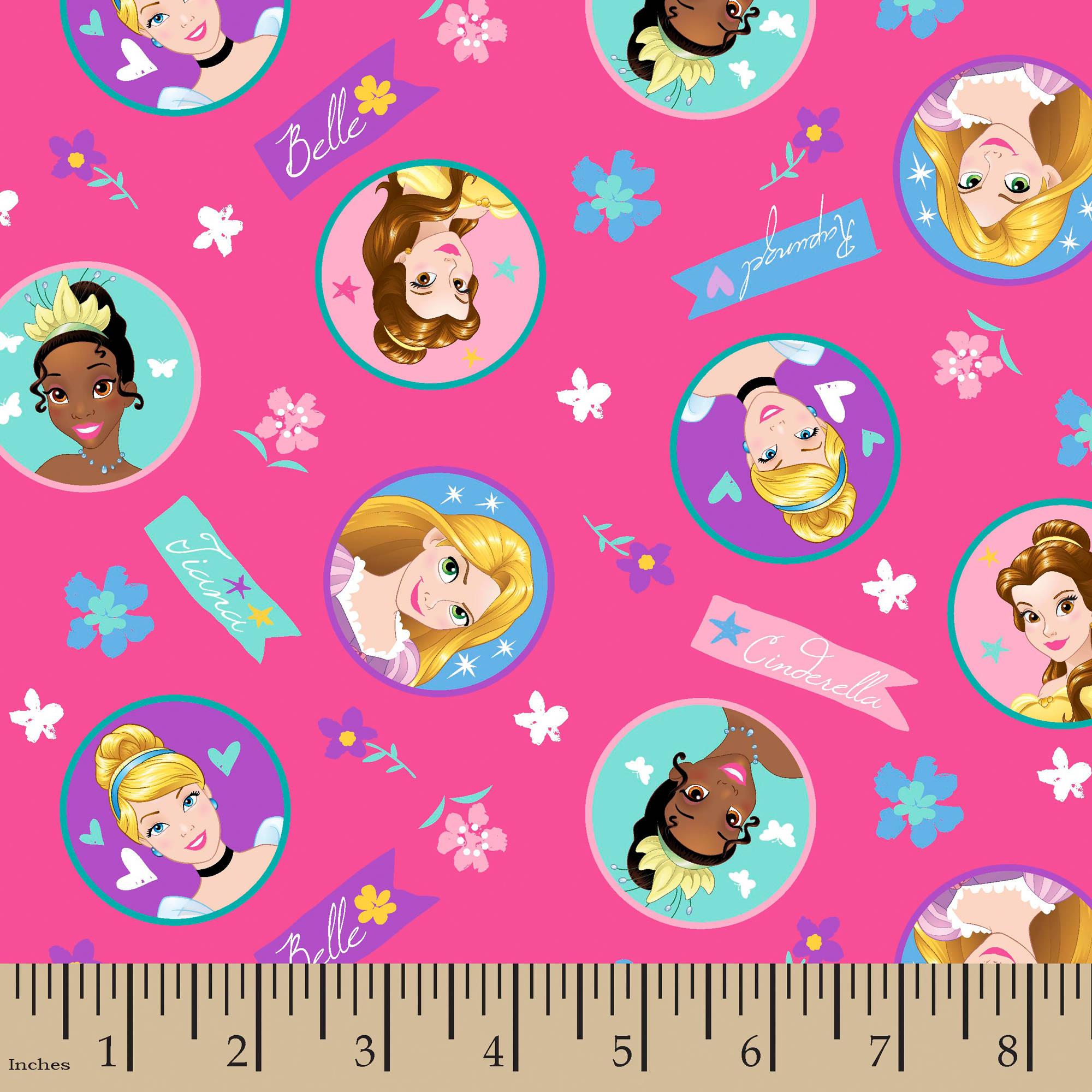 "Disney Princess Badge, Pink, 100 Percent Cotton, 43/44""W, Fabric by the Yard"