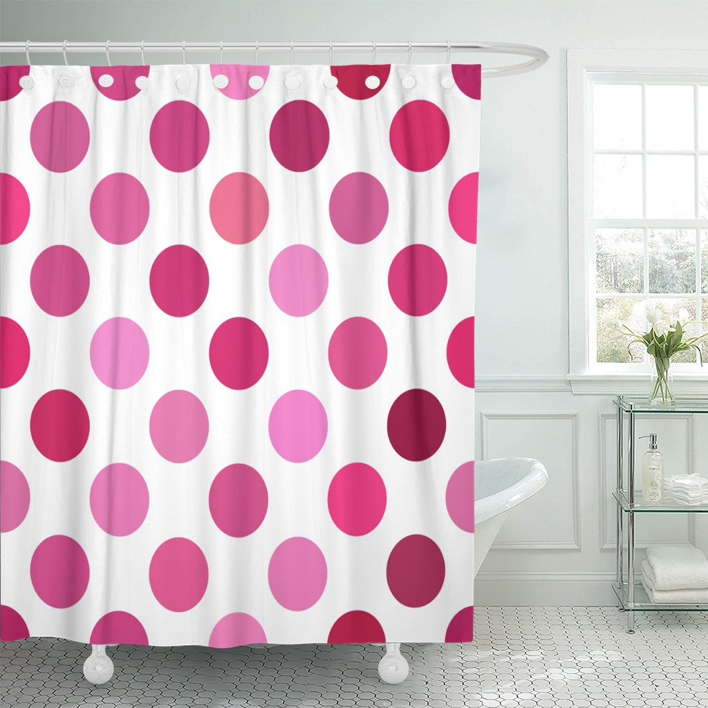 Bsdhome Abstract Pink Polka Dot Pattern Circle Color Geometric Pastel Polyester Shower Curtain 60x72 Inches Walmart Canada