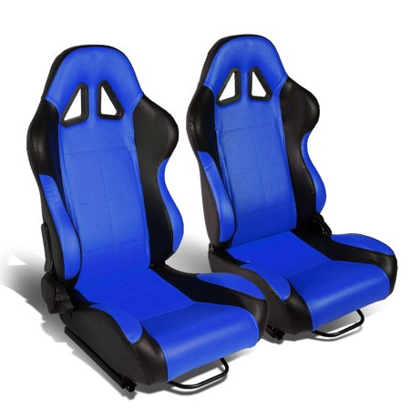 - Set of 2 Square Stitch Type-R PVC Leather Reclinable Racing Seats w/ Universal Sliders (Black/Blue)