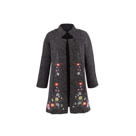 Cocoon Sweater Coat - Rising International Women's Heidi Sweater Coat - Embroidered Floral Jacket