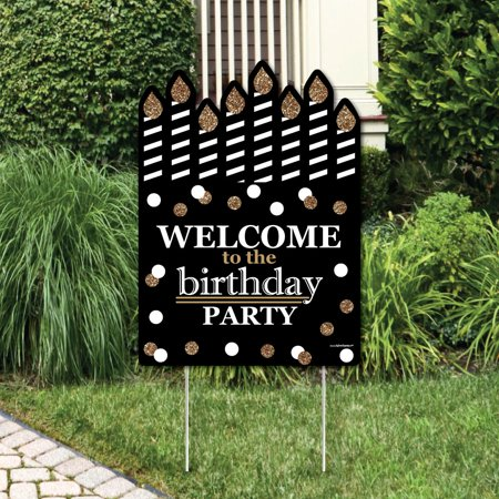Adult Happy Birthday - Gold - Party Decorations - Birthday Party Welcome Yard Sign