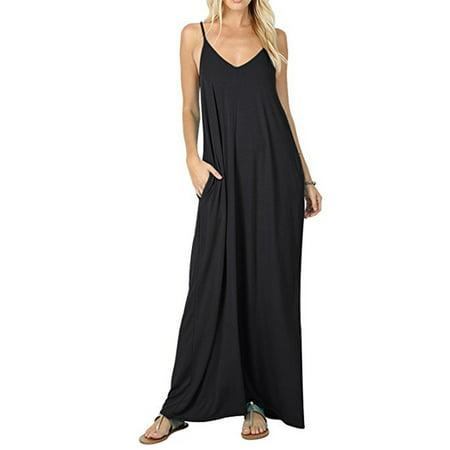 94135b24ae90 DYMADE - DYMADE Women s V Neck Boho Floral Print Spaghetti Strap Long Maxi  Dress Sundress - Walmart.com