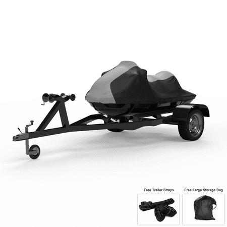 Weatherproof Jet Ski Cover For KAWASAKI Jet Ski 750 SS - Super Sport 1992-1997 - GRAY / Black - All Weather - Trailerable - Protects from Rain, Sun, & More! Includes Trailer Straps & Storage Bag