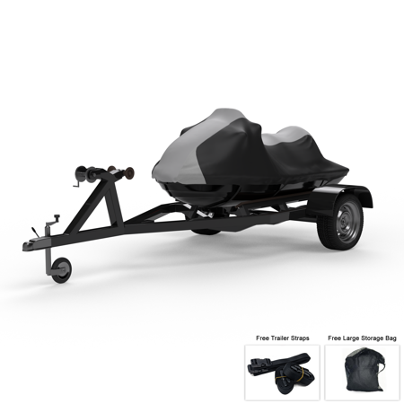 Weatherproof Jet Ski Cover For KAWASAKI Jet Ski SS-Xi - Super Sport 1993-1999 - GRAY / Black - All Weather - Trailerable - Protects from Rain, Sun, & More! Includes Trailer Straps & Storage Bag