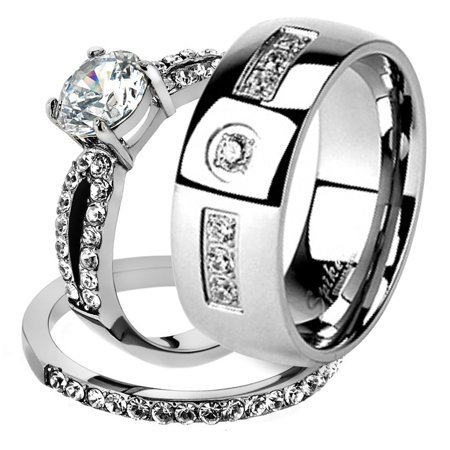 His & Her Stainless Steel 1.25 Ct Cz Bridal Ring Set & Men Zirconia Wedding Band Women's Women's Size 10 Men's Size -