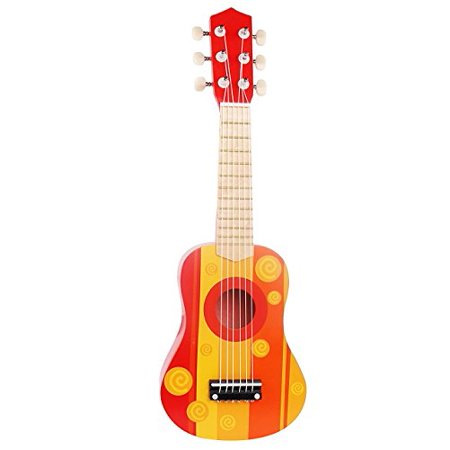 toy guitar wooden ukulele instrument red orange. Black Bedroom Furniture Sets. Home Design Ideas