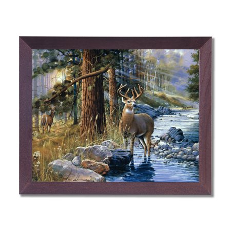 Whitetail Buck Deer Doe Lake Animal Wildlife Cabin Lodge Wall Picture Cherry Framed Art Print