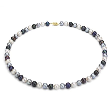cdf56df6b DaVonna - 14k Yellow Gold 6-7mm Dark-Multi Freshwater Pearl Necklace -  Walmart.com