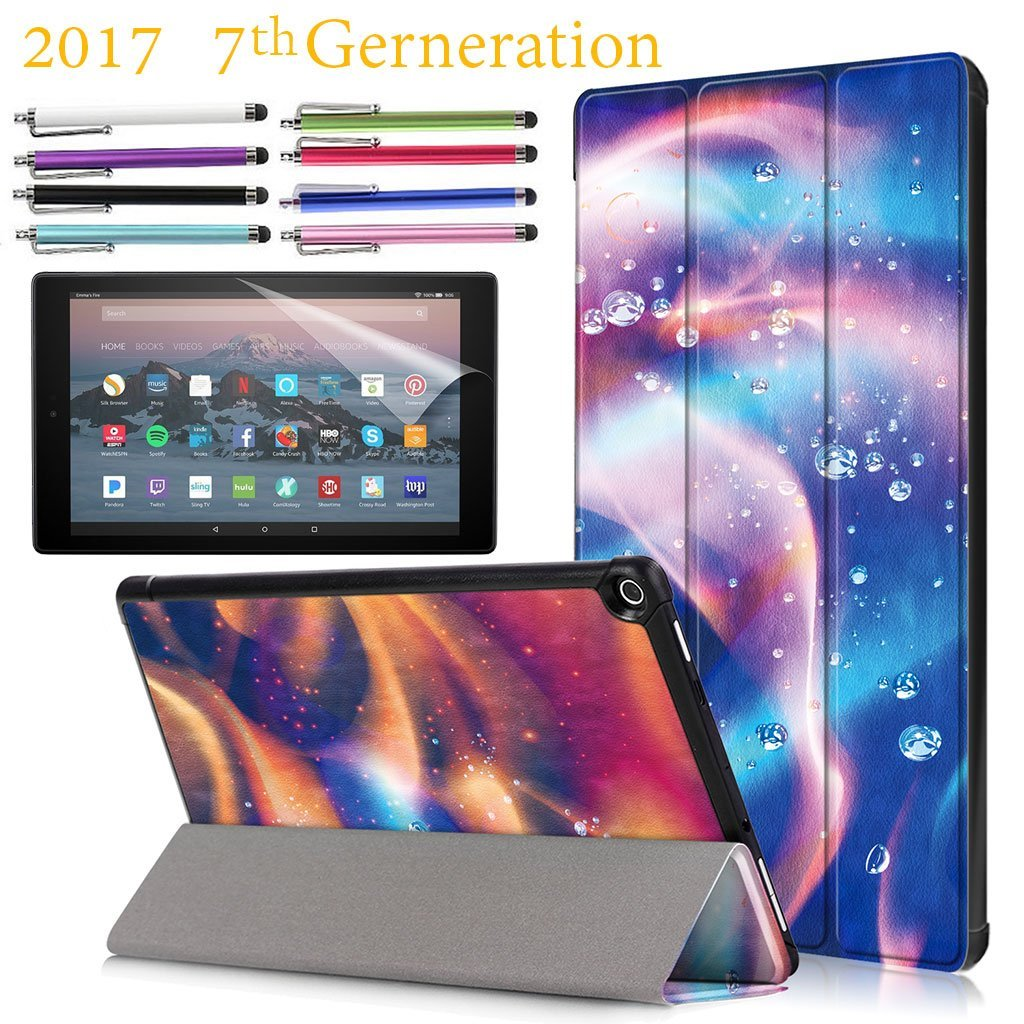 "Amazon Fire HD 10"" Case, EpicGadget 7th Generation Fire HD 10 Tri-fold Stand Ultra Lightweight Slim Cover PU Leather Case For Fire HD 10 (2017) +1 Screen Protector and 1 Stylus (Fire and Water)"