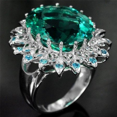 Fancyleo Chic  Huge 925 Sterling Silver Natural Gemstone Emerald Diamond Flower Ring Wedding Birthstone Engagement Bridal Women Brand