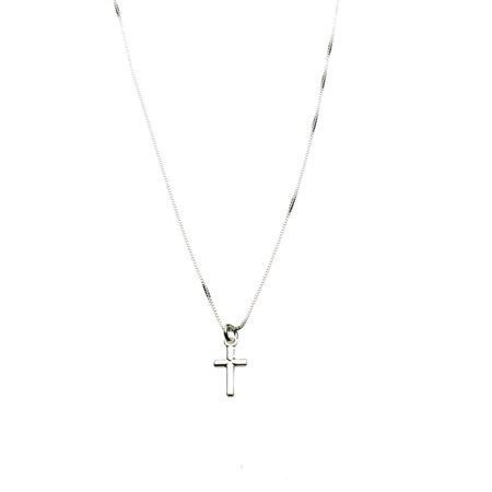 Sterling Silver Tiny Cross Charm Box Chain Nickel Free Necklace Italy 14""