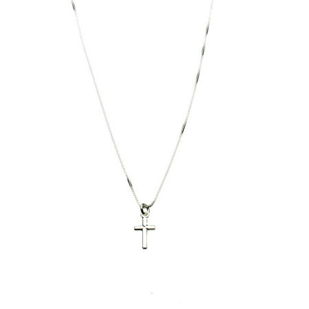 Sterling Silver Tiny Cross Charm Box Chain Nickel Free Necklace Italy 14