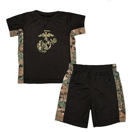 TC Toddler Kids U.S. Marine Corps Logo Woodland Camo Athletic Shorts & T-Shirt Set