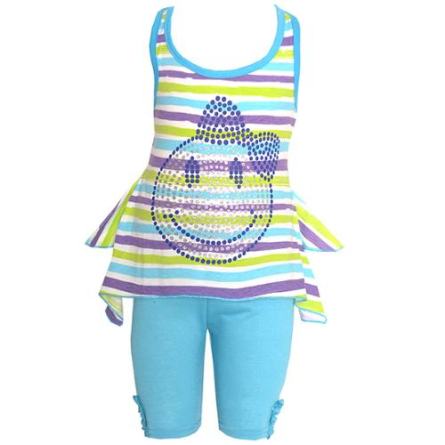 Ziggles Wiggles Baby Girls Turquoise Stripe Happy Face 2 Pc Legging Set 24M