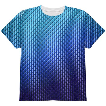 Halloween Blue Ice Dragon Scales Costume All Over Youth T Shirt Multi