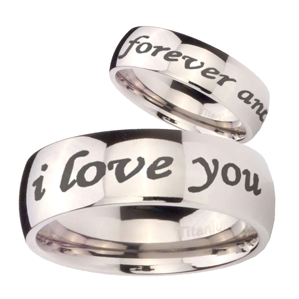 His and Hers 2pcs Titanium I Love you forever and ever Silver Dome