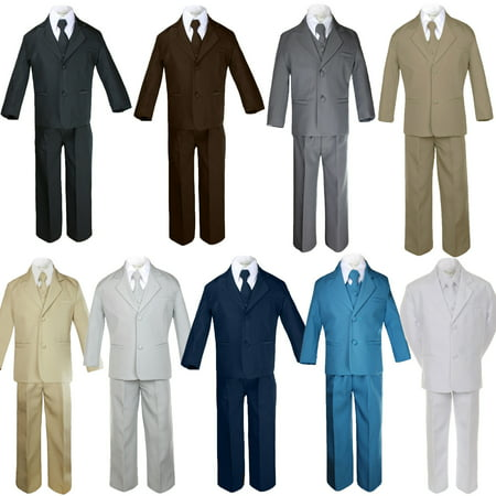 Light Grey Boys Suit (5pc Baby Toddler Boy Formal Suit Black Brown Gray Khaki Green White Navy)