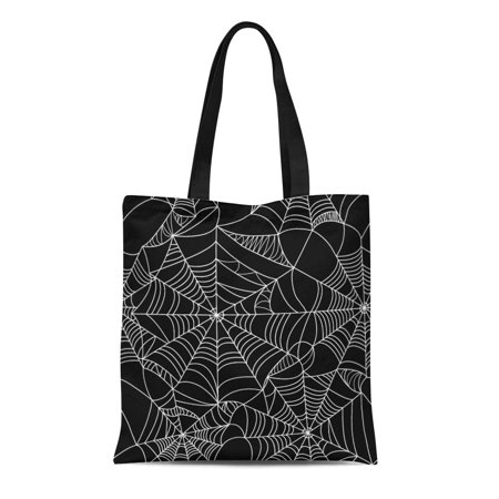 ASHLEIGH Canvas Tote Bag Pattern Halloween Spider Black and White Spiderweb Horror Old Reusable Shoulder Grocery Shopping Bags Handbag
