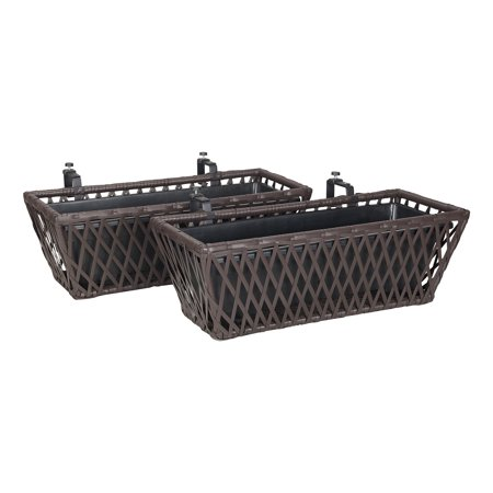 "Mainstays Sanza Wicker Balcony Planter Boxes, 23.6"", Mocha ..."