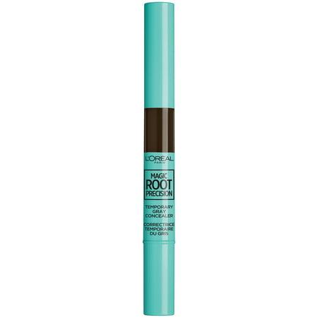 L'Oreal Paris Magic Root Precision Temporary Gray Hair Color Concealer Brush, 4 Dark Brown, 0.05 fl. oz.
