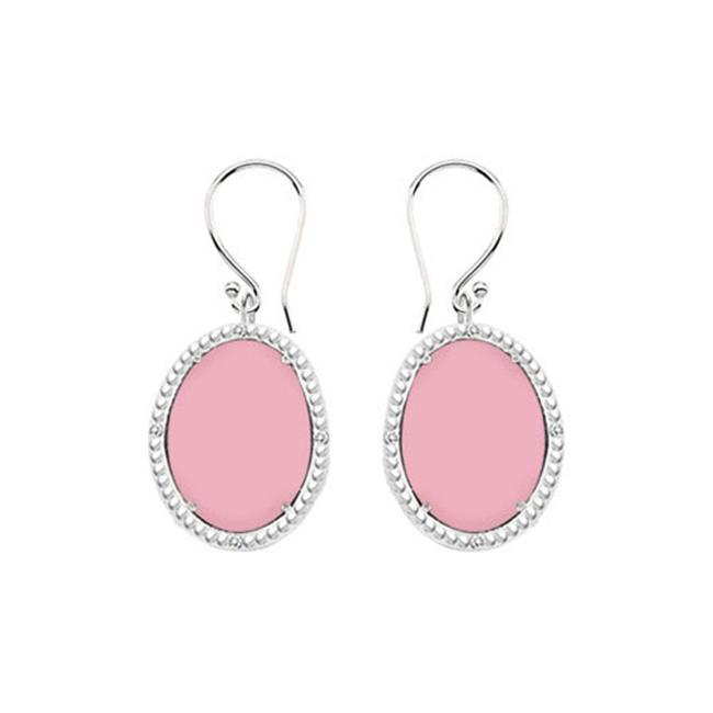 Fine Jewelry Vault UBERBK70384W10DCPK 10K White Gold Pink Chalcedony and Diamond Earrings 30.16 CT TGW by Fine Jewelry Vault