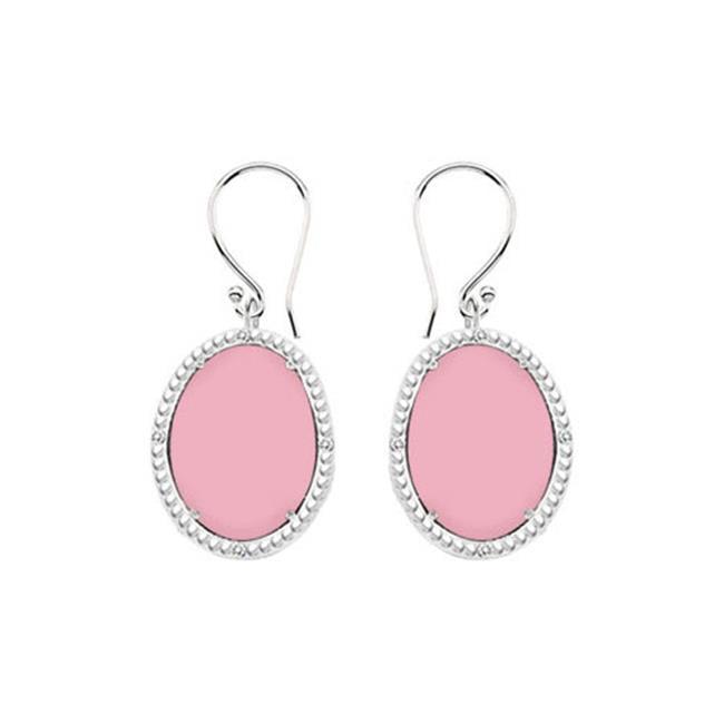 Fine Jewelry Vault UBERBK70384W10DCPK 10K White Gold Pink Chalcedony and Diamond Earrings 30.16 CT TGW by Fine Jewelry Vault
