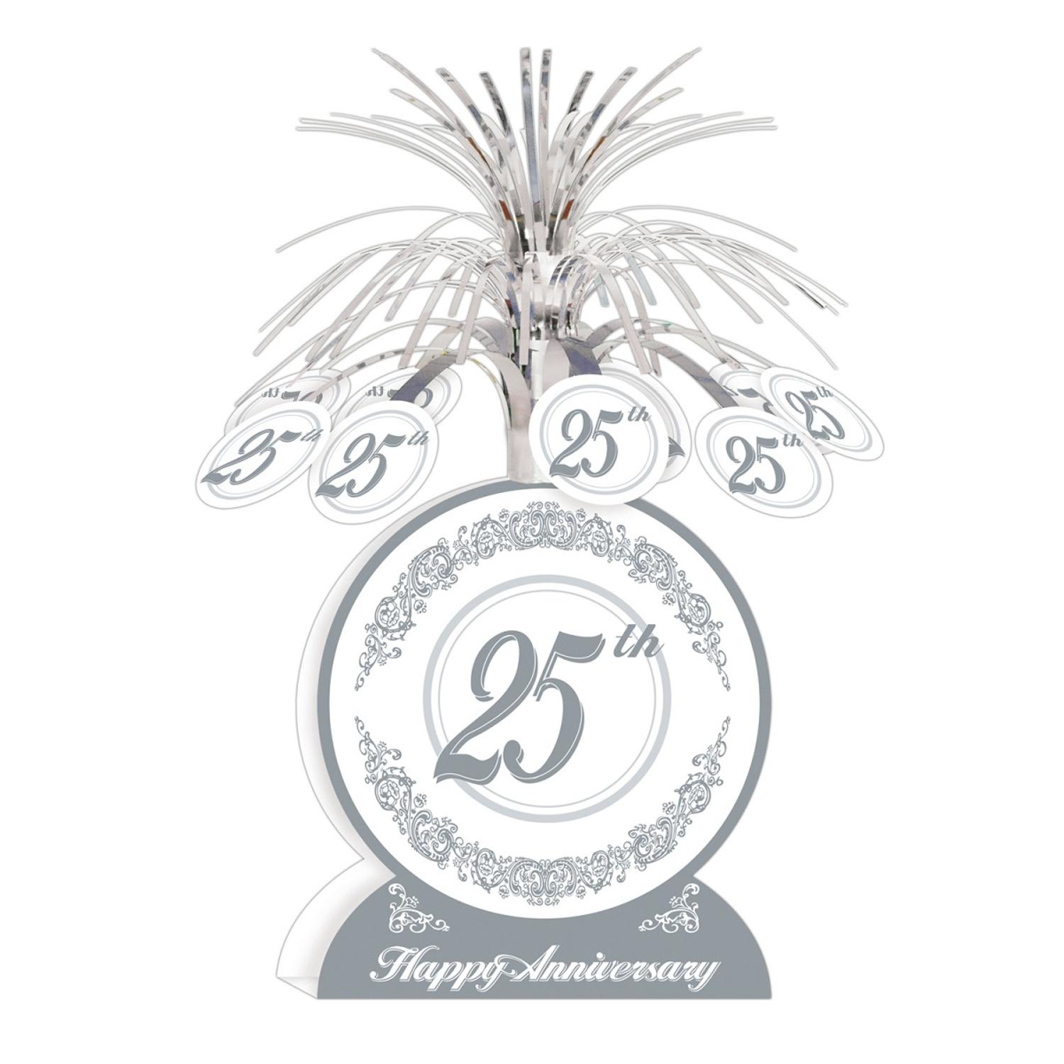 "Club Pack of 12 Silver and White ""25th Happy Anniversary"" Table Centerpiece Decorations 13"""