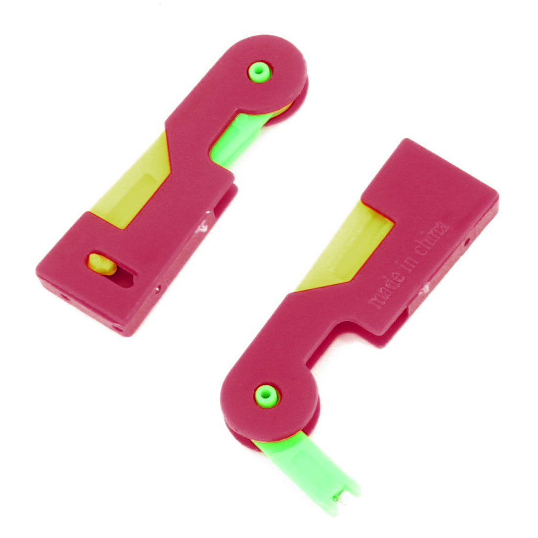 "Unique Bargains 2.6"" Long Tri-color Automatic Needle Guide Threader 2pcs"