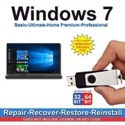 Windows 7 All Versions Professional, Home Premium, Ultimate, Basic Repair Install Restore Recover USB & 2019 Drievrs