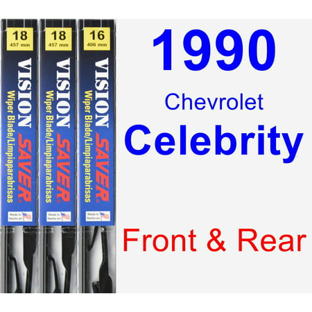 Chevrolet Celebrity Spark Plug - 1990 Chevrolet Celebrity Wiper Blade Set/Kit (Front & Rear) (3 Blades) - Vision Saver