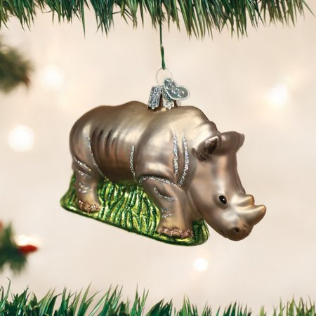 Rhinoceros Glass Blown Ornament, Hand crafted in age-old tradition using techniques that originated in the 1800's By Old World - Chinese Christmas Traditions
