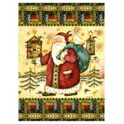 """Santa Birdhouse Primitive Christmas House Flag by Custom Decor 28"""" x 40"""""""