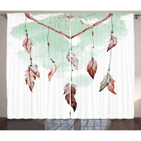 Feather Curtains 2 Panels Set, Watercolor Vibrant Dream Catcher with Ornamental Elements Traditional Design, Window Drapes for Living Room Bedroom, 108W X 96L Inches, Mint Green Brown, by Ambesonne