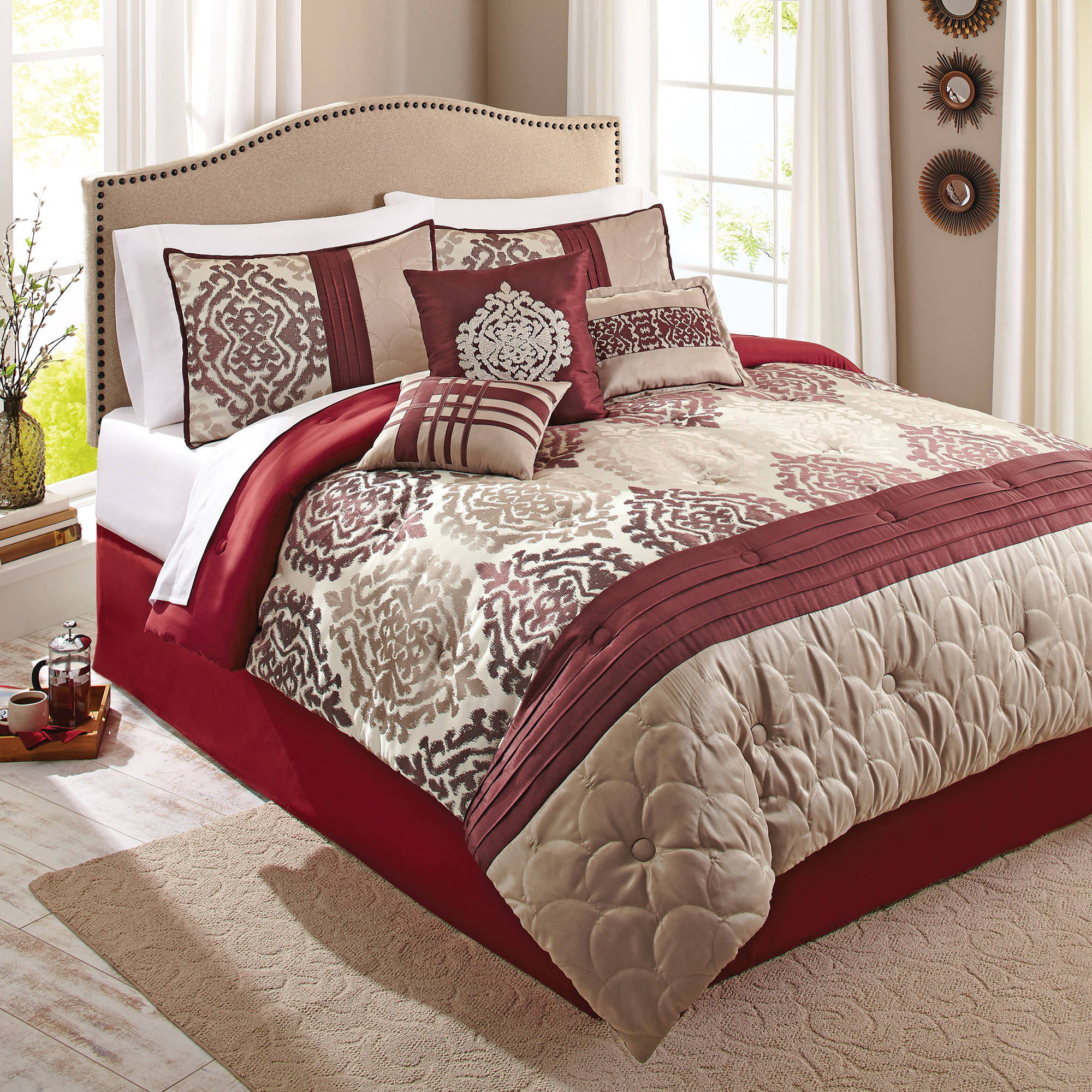 with bedroom gh curtains rustic comforter and sparkling matching upscale set burgundy sets size king calm wayfairbedding comforters