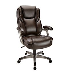 Realspace® Cressfield Bonded Leather High-Back Chair, Brown/Silver