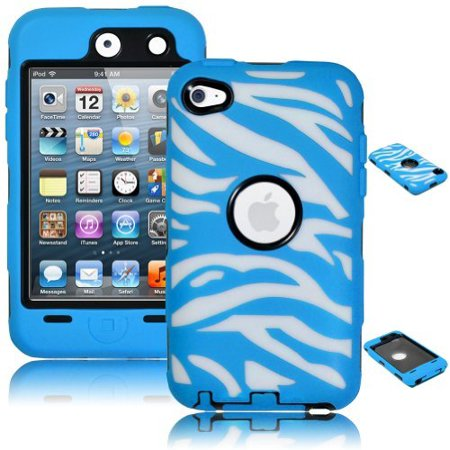 iPod Touch 4 Case, Bastex Heavy Duty Hybrid Black Inner Case Blue and White Zebra Design Outer Silicone Cover for Apple iPod Touch 4 ()