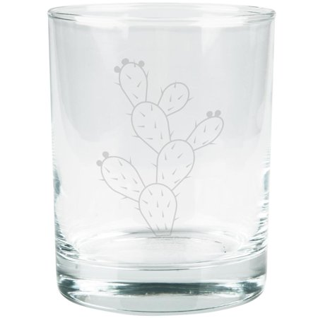 Cinco de Mayo Prickly Pear Cactus Etched Glass Tumbler ()